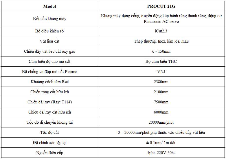 Thông số kỹ thuật máy cắt plasma CNC Procut 21G