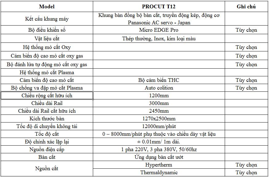 Thông số kỹ thuật của Máy cắt Plasma CNC Procut T12